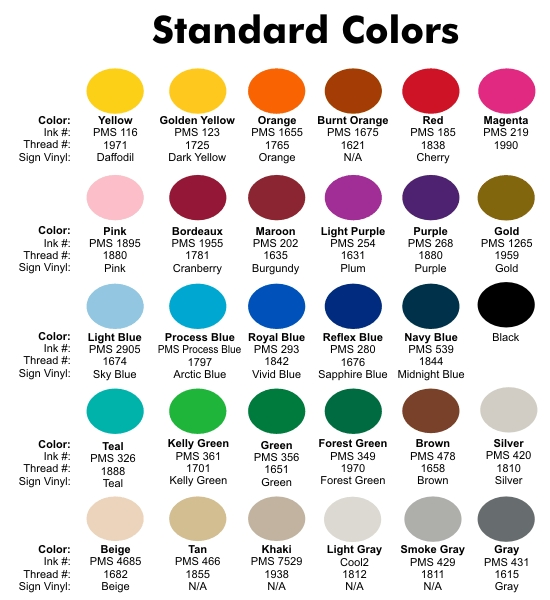 Sample Pms Color Chart Pms Color Chart How To Match Custom Logo Mat